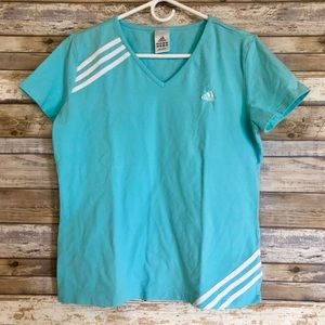 Adidas Turquoise Blue Short Sleeve Athletic Shirt